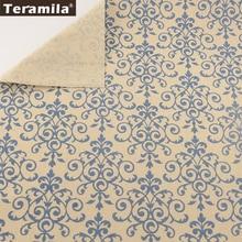 Linen Fabric Sewing Material Table Cloth Pillow Bag Curtain Cushion Pillow  TERAMILA Home Textile Cotton Printed Blue Tissue