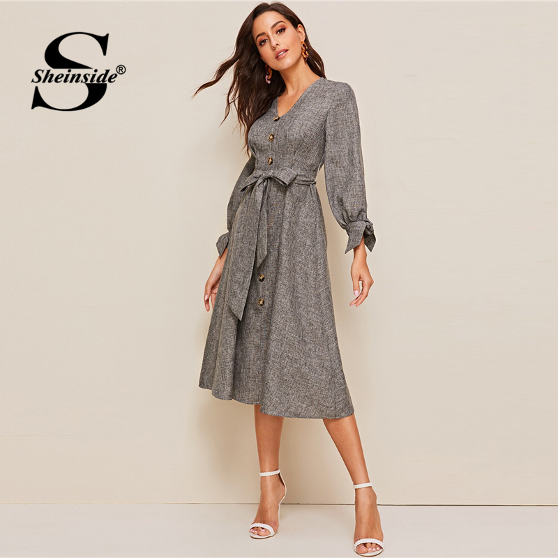 Image 3 - Sheinside Grey Elegant Front Button Detail A Line Dress 2019 Spring Lace Up Cuff Dresses Ladies Solid V neck Midi Dress-in Dresses from Women's Clothing