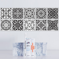 10pcs Retro Style Black And White Tiles Pattern Tiles Stickers Kitchen Bathroom Balcony Wall Stickers Waterproof