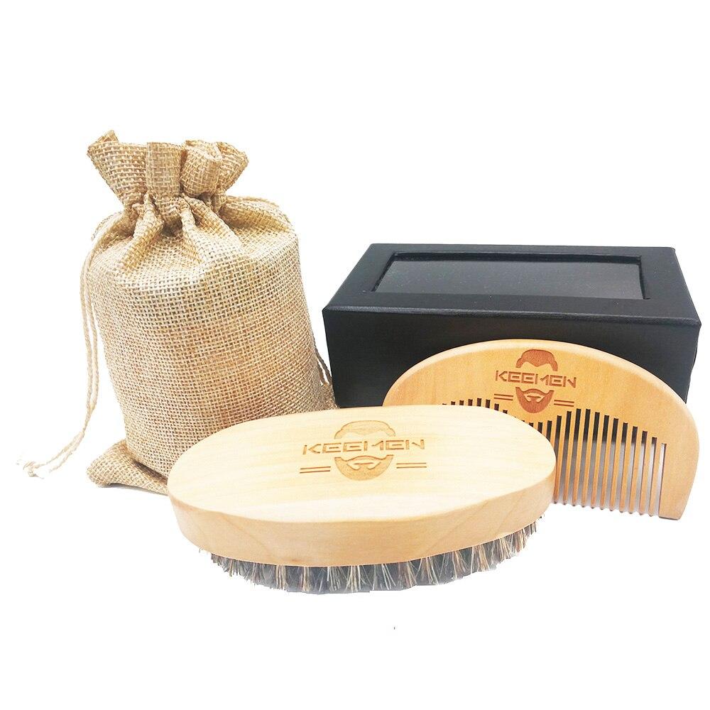 100pcs/lot Wood Boar <font><b>Bristle</b></font> <font><b>Beard</b></font> Mustache <font><b>Brush</b></font> & <font><b>Hair</b></font> Combs Men Grooming Kit Set with Gift Box & Velvet Bag for Gentlement