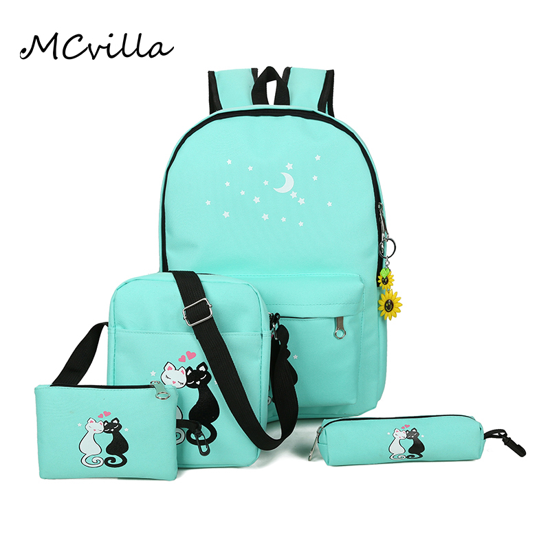 ffba6db16c 4pcs set Fashion Cute Smile Cat Women Backpack College School Bag Canvas  Students Bookbag Rucksack Shoulder Bag