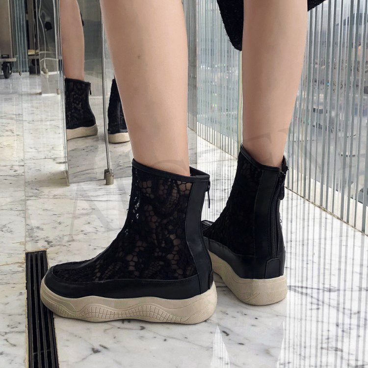 LAIGZEM SEXY Women Ankle Boots Mesh Breathable SUMMER Boots Flat Thick Bottom Botas Feminina Bottes Femme Small Big Size 32-46 (2)