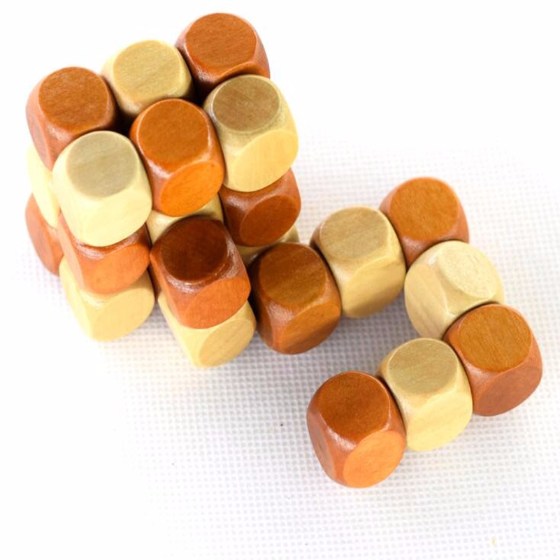 Snake Cube Wooden Brain Teaser Puzzle Magic Cube toy gift LUBAN LOCK
