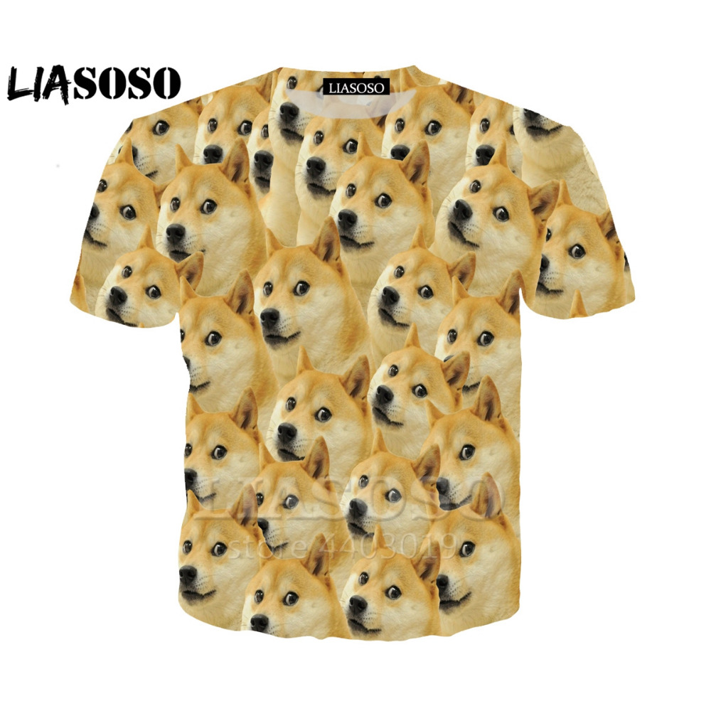 LIASOSO NEW Animals Doge SHIBA Funny MEME T shirt 3D Print Unisex Brand Tobacco Doge Cute Clothing Drop Shipping A044--03 image