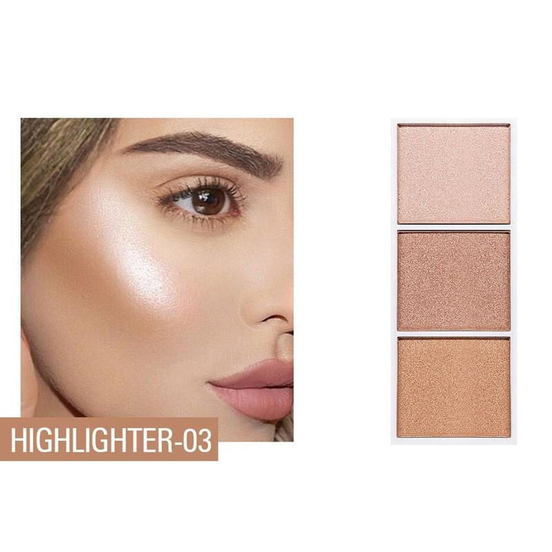 4 colors Highlighter Facial Bronzers Palette Makeup Glow Kit Face Contour Shimmer Powder Body Base Illuminator 3
