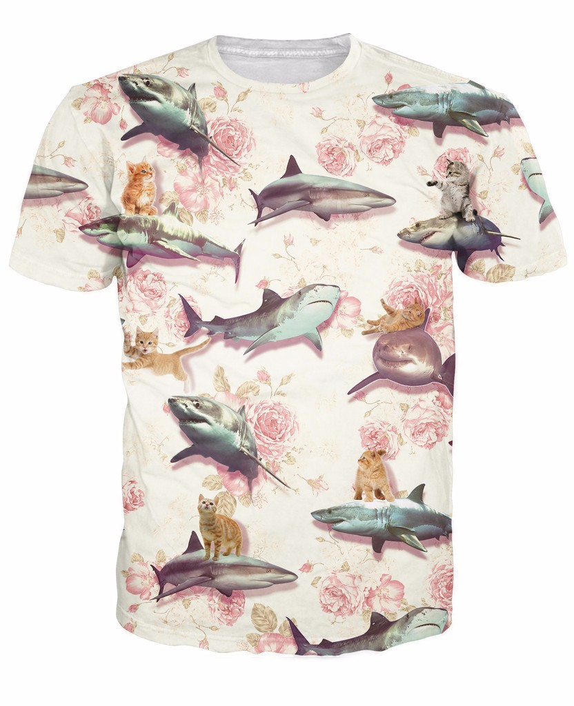 Sharks and Kittens T-Shirt the poise and grace of a floral design 3d Print t shirt Women Men tees Tops Outfits Plus Size ...