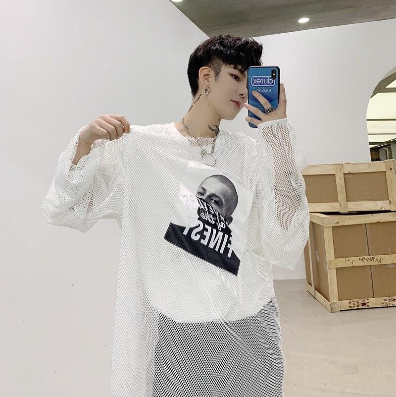 Men Oversize Long Tees Shirts Long Sleeve Hollow Mesh T Shirt Male Women Streetwear Hip Hop Punk Gothic Loose Casual Tshirt