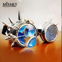 MISSKY Rivet Steampunk Goggles Kaleidoscope Crystal Lenses Cosplay Vintage Glasses Welding Men Women Gothic Cool Eyewear SAN0