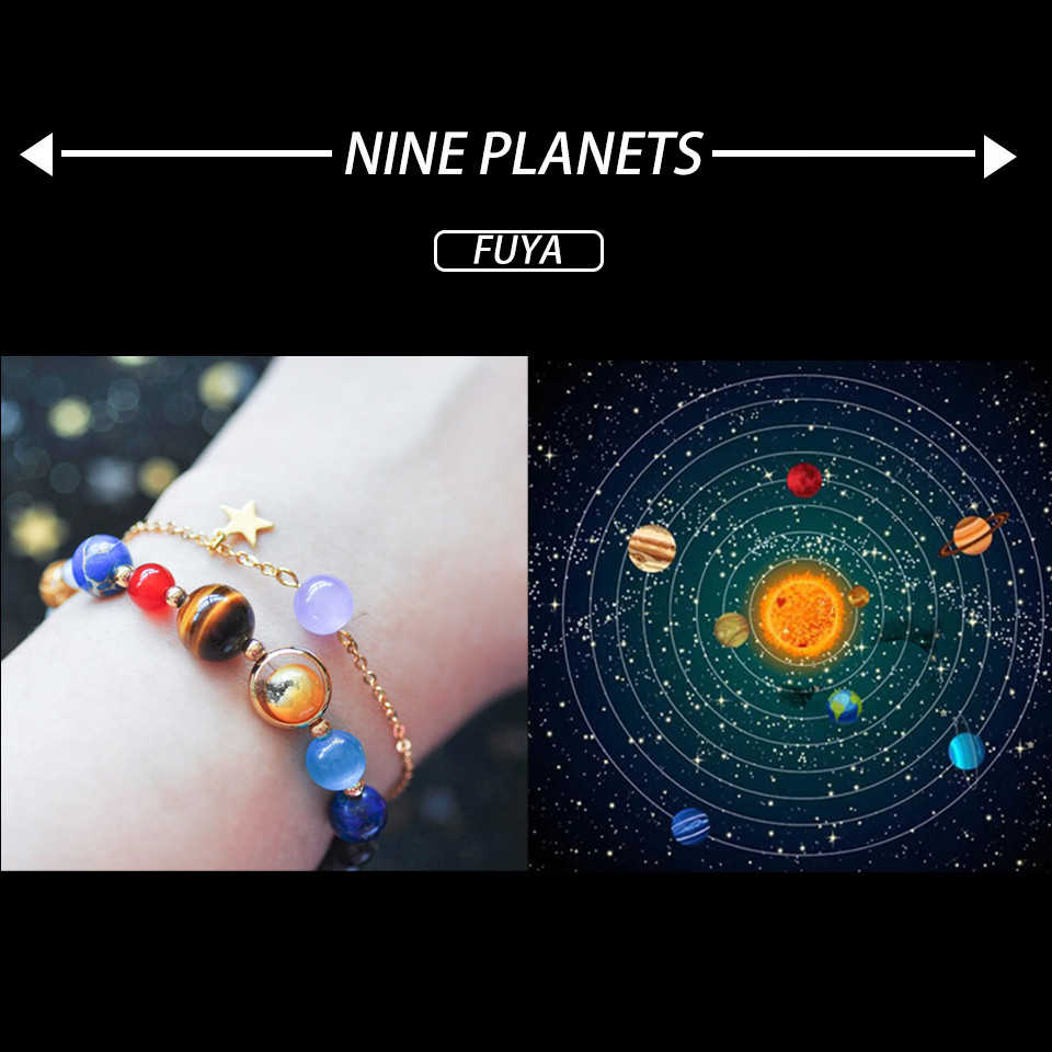 Universe galaxy the eight planets bracelet In the solar system guardian star natural stones beads bracelets&bangles men women