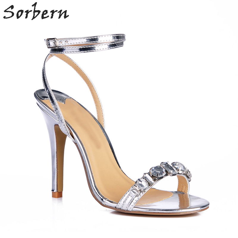 Sorbern Ankle Wrapped Silver Sandals Crystals Open Toe Summer Shoes Women High Heels Stilettos Womens Gold High Heel Shoes rhinestone high heeled sandals women summer gold high heel shoes open toe high heels slippers crystal shoes