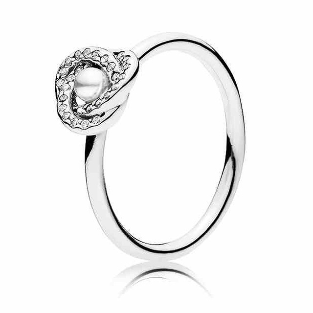 91a33277e Authentic 925 Sterling Silver Ring Luminous Love Knot Ring With Pearl And  Crystal For Women Wedding Party Gift Fine Jewelry