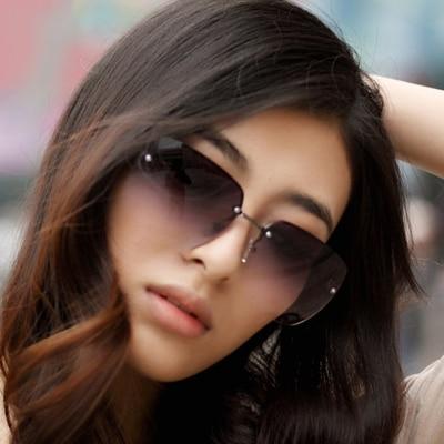 Gafas de sol sin montura de las mujeres femenina de color degradado elegantes gafas de sol-shading gafas de sol de moda del todo-fósforo gafas de sol