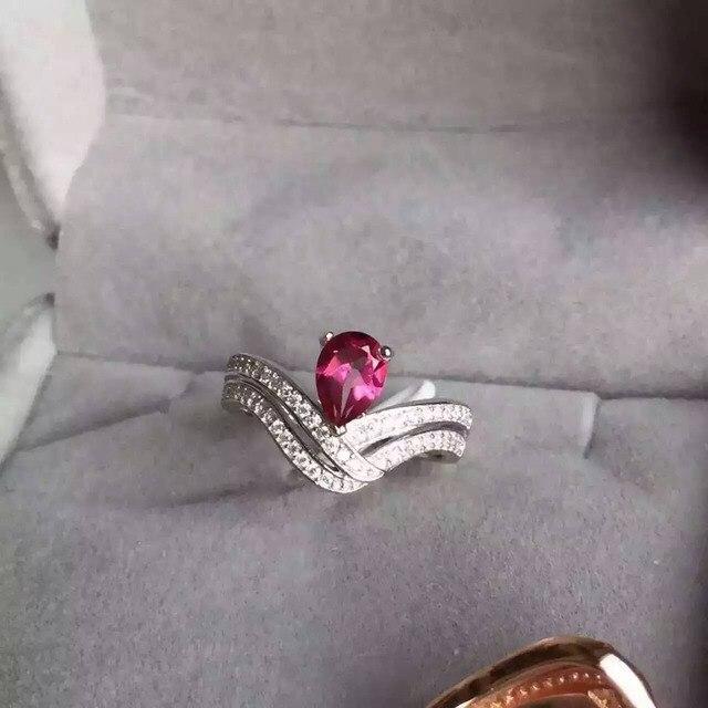 Natural pink topaz Anillo joya anillo de piedra Natural 925 de plata de ley de moda water drop tulip Flores regalo de la muchacha de las mujeres joyería