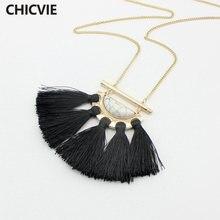 Chicvie длинное ожерелье с белыми бусинами и черной кисточкой