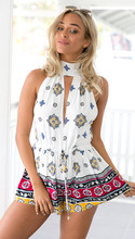 2016 Bohemian Womens Summer Jumpsuit Halter V-Neck Sleeveless Pattern Print Playsuit Casual Shorts Jumpsuits Beach Holiday Suit