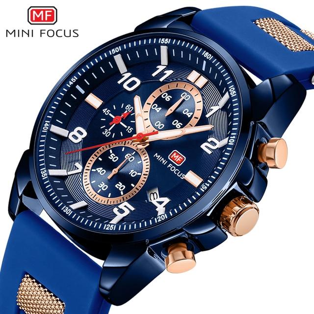 MINIFOCUS Wrist Watch Men Waterproof Fashion Luxury Brand Sport Clock Men's Wristwatch Quartz Relogio Masculino Silicone Strap