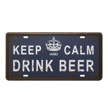 Beer drinking-inspired vintage metal car license plate
