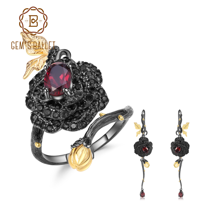 GEM S BALLET 2 76Ct Natural Garnet Adjustable Ring Earrings Set 925 Sterling Silver Handmade Rose