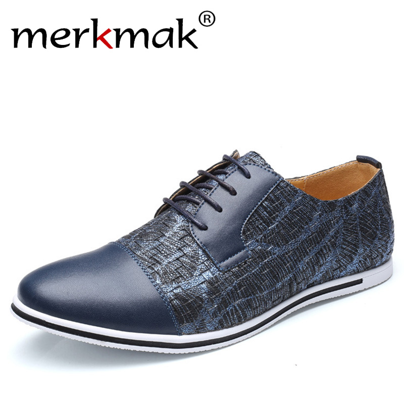 Merkmak Men Leather Casual Shoes 2018 Business Men Shoes Luxury Brand Spring Male Footwear Sneakers Big Size Shoes Men 38-50