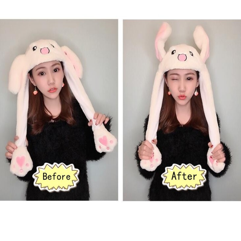 Cartoon Cuddly Moving Ear Rabbit Hat Plush Cap Hat Soft Stuffed Animal Toy Toys For Children Dance Plush Toy