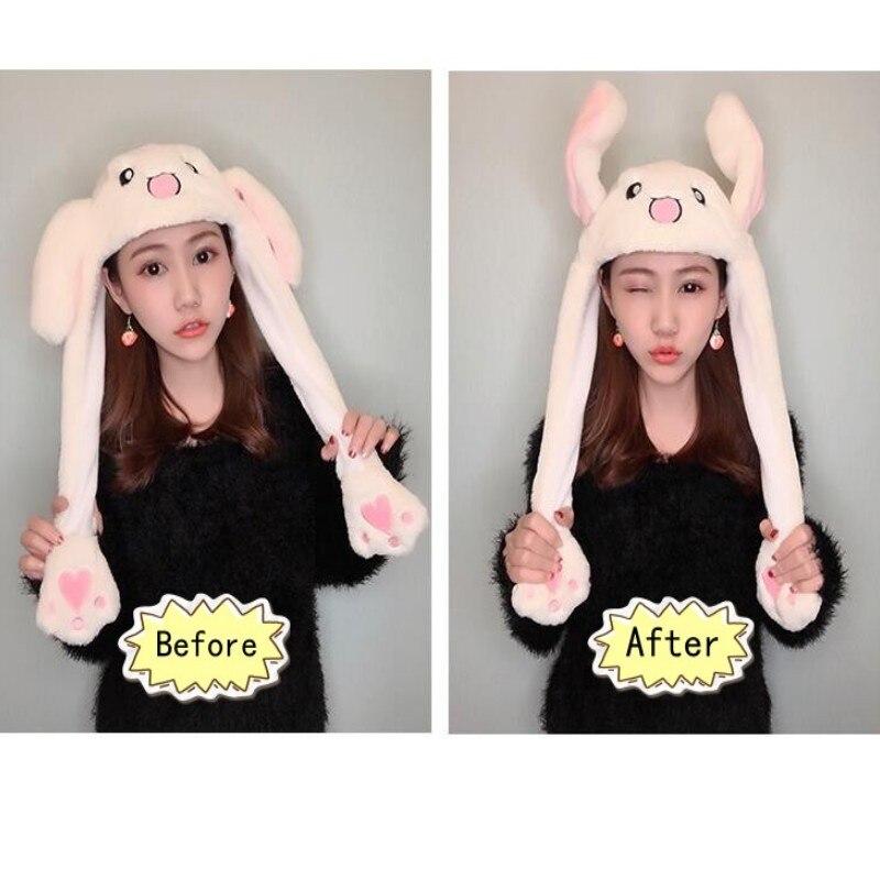 Cartoon Cuddly Moving Ear Rabbit Hat Plush Cap Hat Soft Stuffed Animal Toy Toys For Children Dance Plush Toy