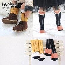 4 пар, новые носки для малышей Детские носочки для мальчиков и девочек дети хлопок, до середины колена Носки карандаши для раскрашивания носки без пятки милые противоскользящие Носки