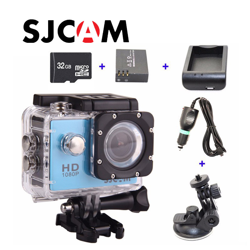 Free shipping!!32GB+Original SJCAM SJ4000 Full HD Sport Action Camera+Extra 1pcs battery+Battery Charger +Car Charger+Holder original gitup git2 standard packing 2k wifi sports camera full hd for sony imx206 16mp sensor extra 1pcs battery dual charger