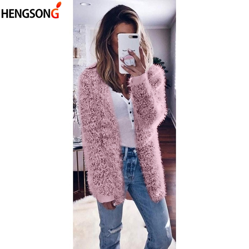 2019 Winter Autumn Women's Sweater Fluffy Shaggy Faux Fur Cardigan Solid Color Slim Long Warm Women Outerwear Fur Sweaters