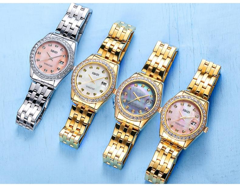 Relógio feminino moda casual pulseira relógio pérola