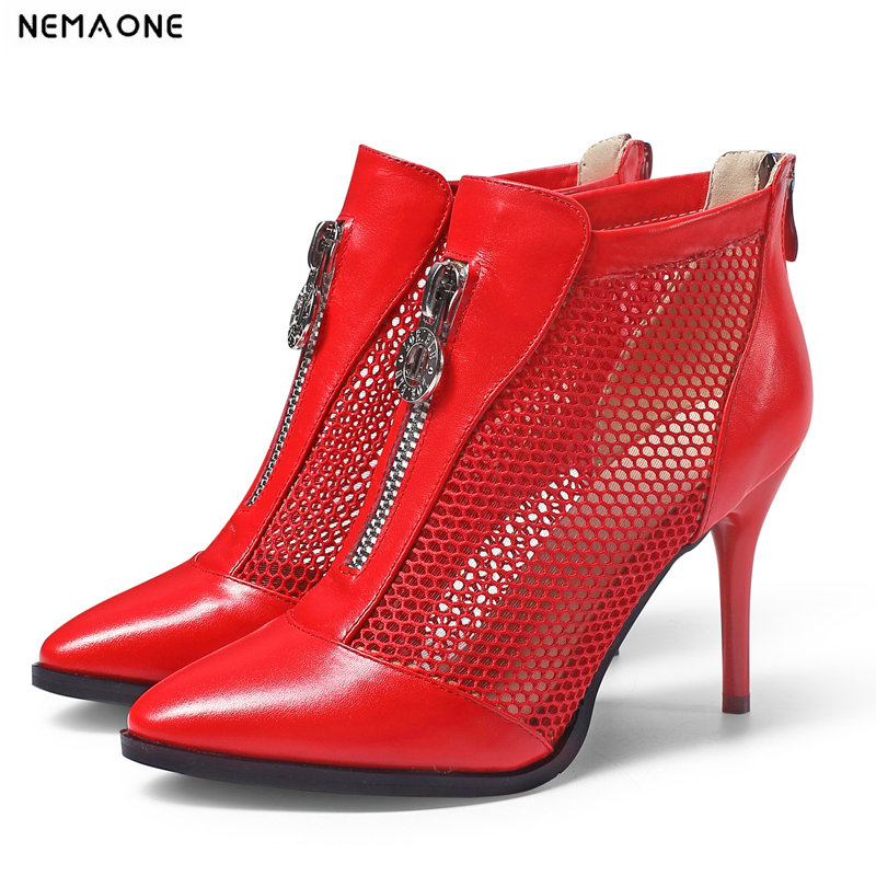 NEMAONE Spring Summer Women Genuine Leather high heels Boots Sexy Mesh Breathable Women Ankle Boots wedding shoes woman цены