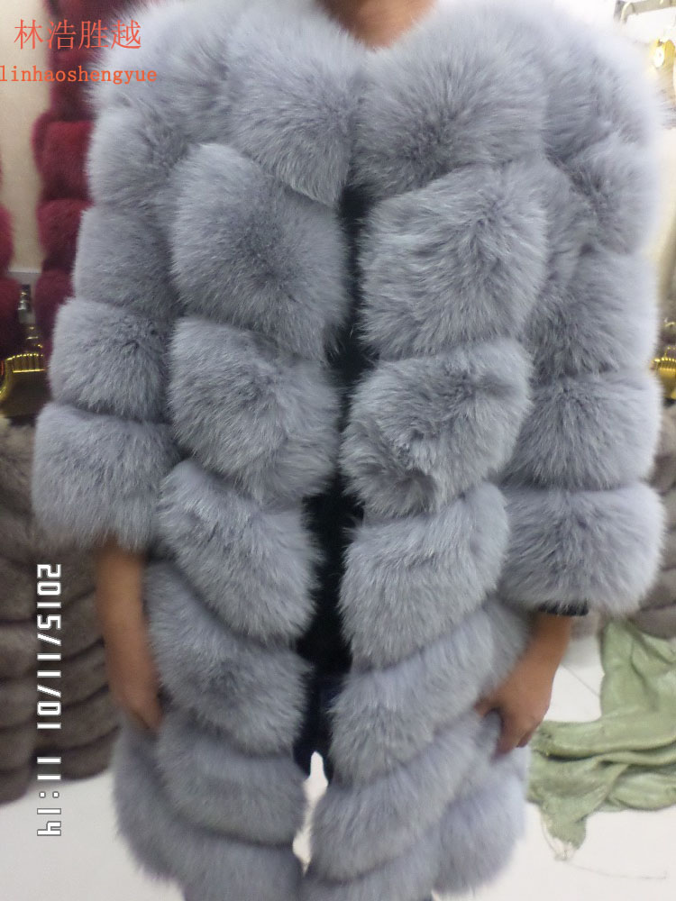90CM long real fur fox coat with sleeves