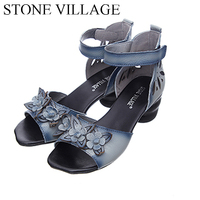2017 Genuine Leather Ankle Strap Sandals Women Square Heel Elegant Dress Shoes Handmade Flower Vintage Summer