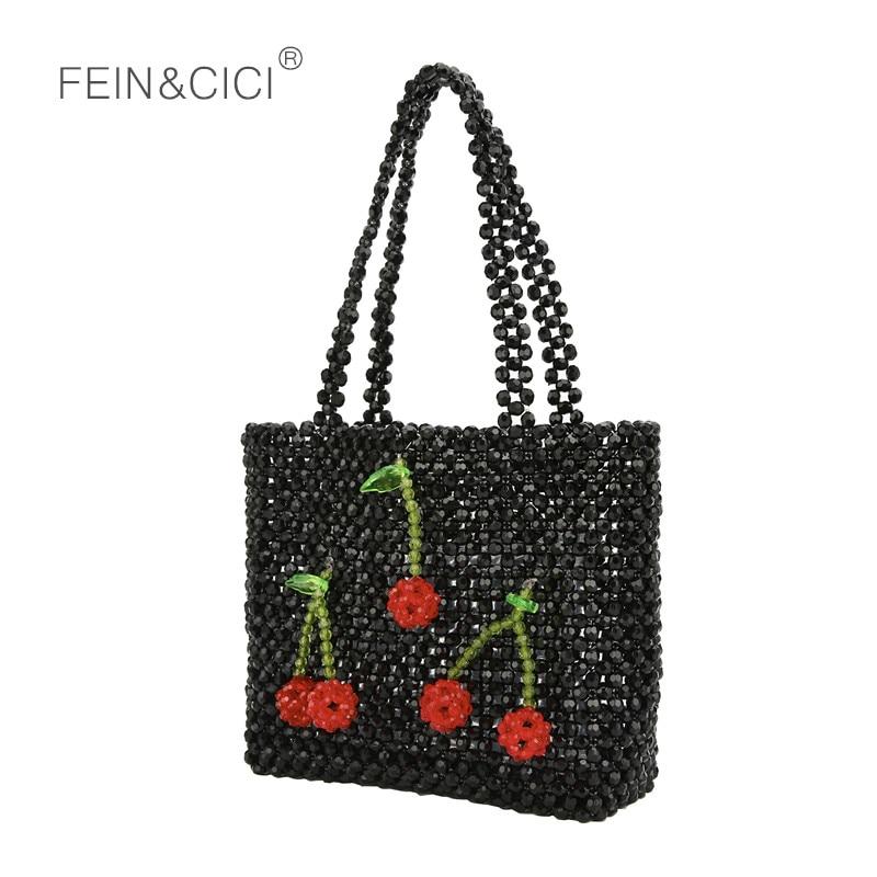 Pearls bag beaded cherry box totes bag women evening party cute handbag 2019 summer bags luxury