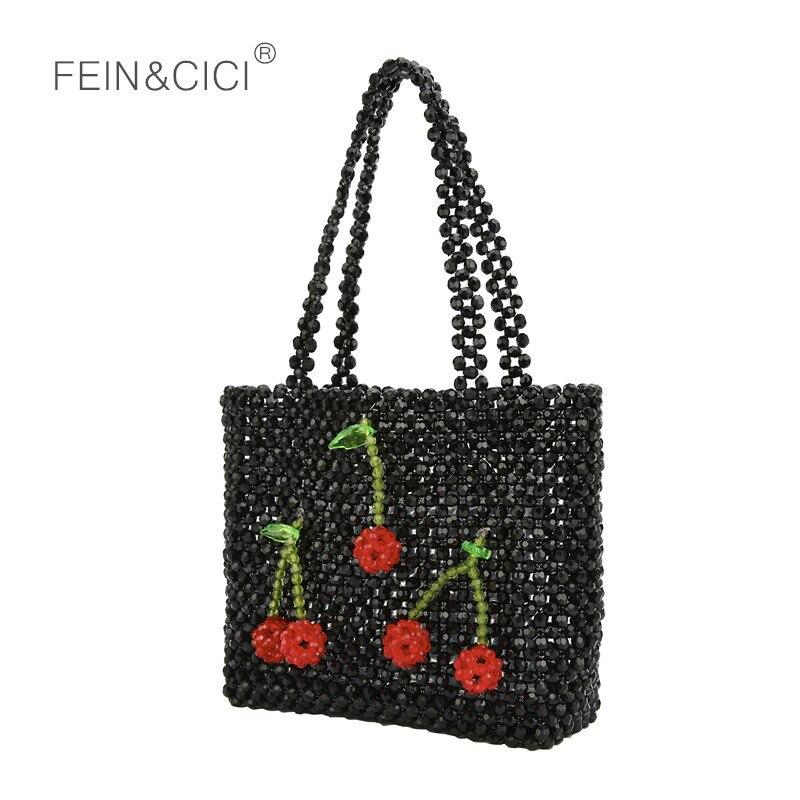 Perles sac perlée cerise boîte fourre-tout sac femmes soirée sac à main mignon 2019 sacs d'été marque de luxe blanc noir livraison directe