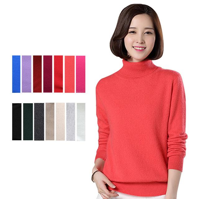 1 Unid Señora de Las Mujeres de Alta Quanlity Caliente Nuevo Cuello Alto suéter de Cachemira Suéter 14 Colores 6 Tamaños