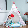 love tree new style canvas pink  and blue kids play teepee tent playhouse children game room pretty indian kids teepee toy tent