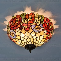 16 Inch Flesh Country Flowers Tiffany ceiling light Stained Glass Lamp for Bedroom E27 110 240V