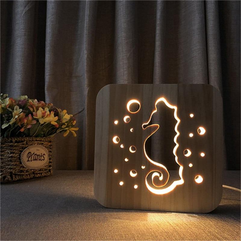 3D Wood Carving LED Night light Seahorse Design Warm Light USB Power Night Light as Birthday Gift Room Decoration Drop Shipping