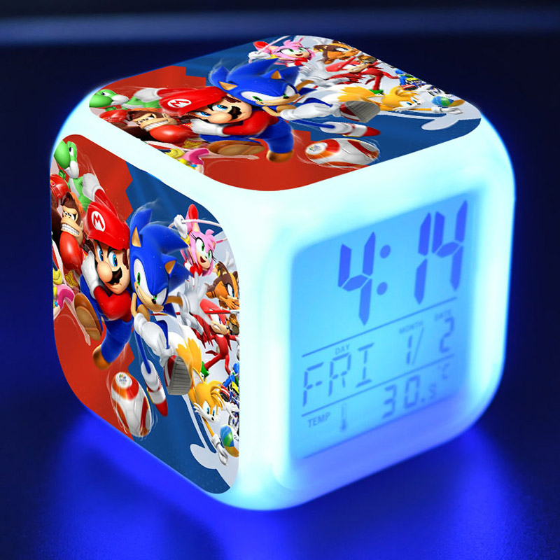 Super Sonic Anime Figurines LED Clock Alarm Colorful Flash Light Thermometer Sonic The Hedgehog Game Figure ToysSuper Sonic Anime Figurines LED Clock Alarm Colorful Flash Light Thermometer Sonic The Hedgehog Game Figure Toys