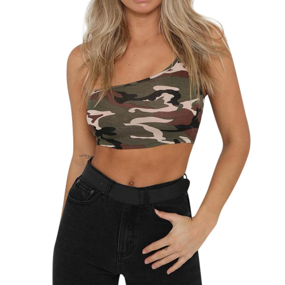 Actief Womens Sexy Fashion Camouflage Hemdje Mouwloos Vest Tank Top T-shirt Blouse Streetwear Basic Tank Ondergoed Vrouwen 2019 Limpid In Zicht