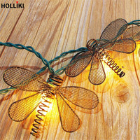 3m LED Vintage Butterfly Wire String Lights Metal Dragonfly Lanterns Lamp Battery Powered Lights For Christmas