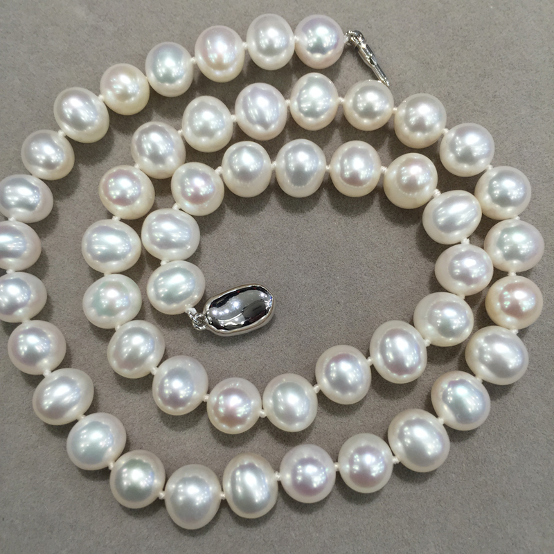 8-9MM Natural Fresh Water Pearl Necklace Near round no spots luster is nice Fashion Women Jewelry with 925 sterling silver lock