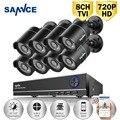 SANNCE 1080N 8CH CCTV Sistema DVR con 8 unids 720 P 1200TVL kit de Vigilancia de Cámaras de Seguridad CCTV 8 canales CCTV P2P Correo Electrónico alerta