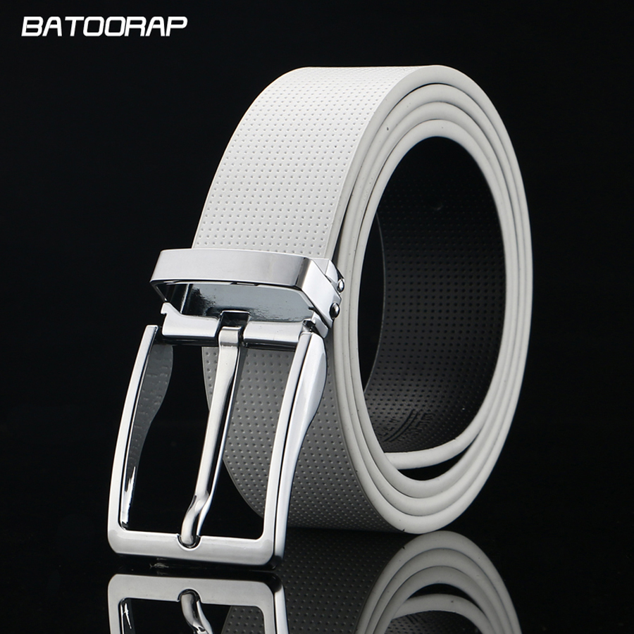 [BATOORAP] 2019 Designer Men   Belt   Silver Pin Buckle Strap Male Genuine Leather   Belts   For Men Luxury   Belt   White cinturones hombre