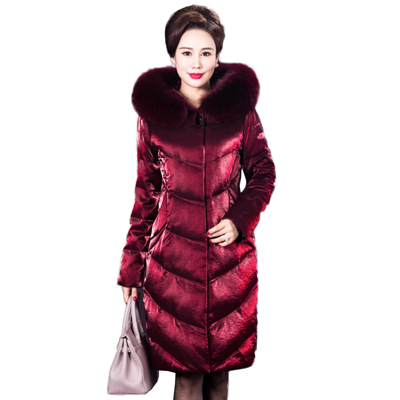 High quality Winter Jacket Female Parka   Coat   Elegant Long   Down   Jacket Plus Size Long Hooded Duck   Down     Coat   Jacket Women NW1068