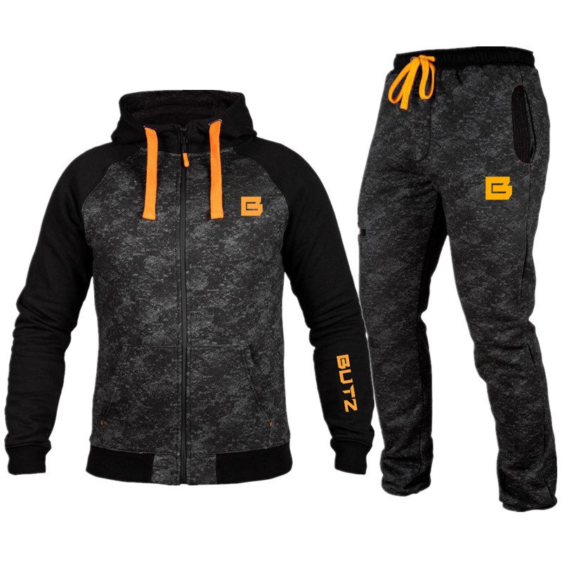 2018 Camouflage Suit Running Gyms Tracksuit Mens Sets Sports Top Joggers Fitness Bodybuilding Sports Suits Men Hoodie+Pants Suit