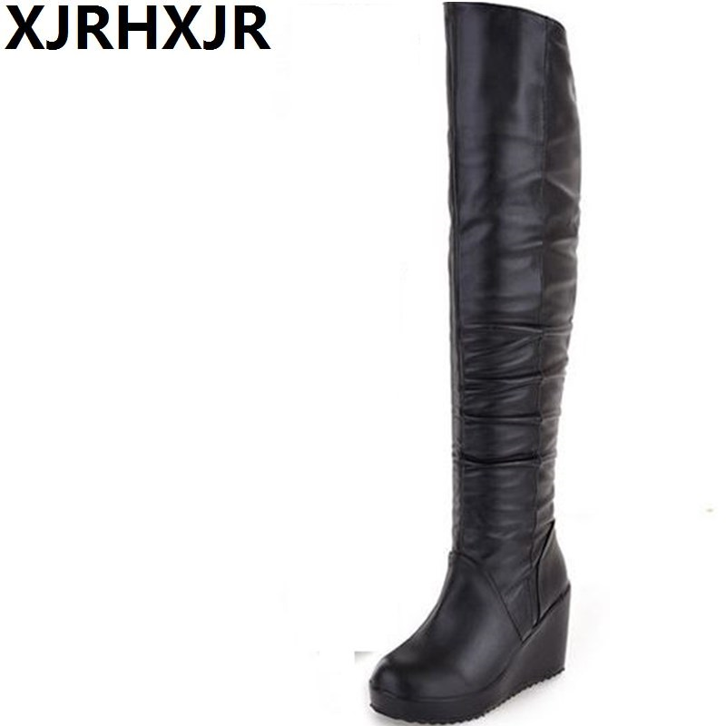 XJRHXJR Black Sexy Slim Women's Wedges Over the Knee Boots Brand High Heels Platform Boots Zip Winter Boots Shoes Woman Boot enmayer new fashion high heels long boots shoes woman over the knee zip round toe 3 colors black shoes platform shoes sexy charm