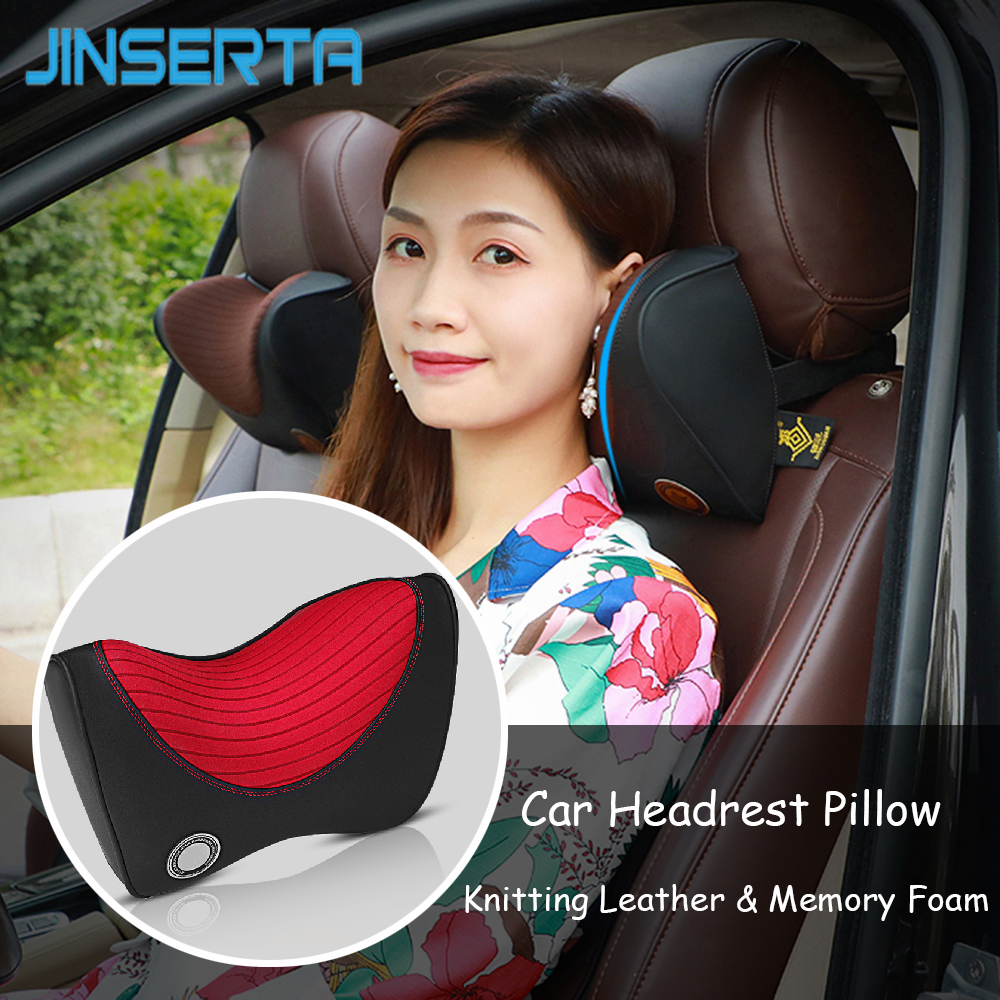 JINSERTA Knitting Leather Car Headrest Neck Pillow Vehicel Seat Memory Foam Safety Head Protecting Travel Pillow Car Accessories