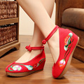 Embroidery Pumps Chinese Old BeiJing 5cm Increased Internal Soft Sole National old Beijing embroidered canvas shoes size 34-41