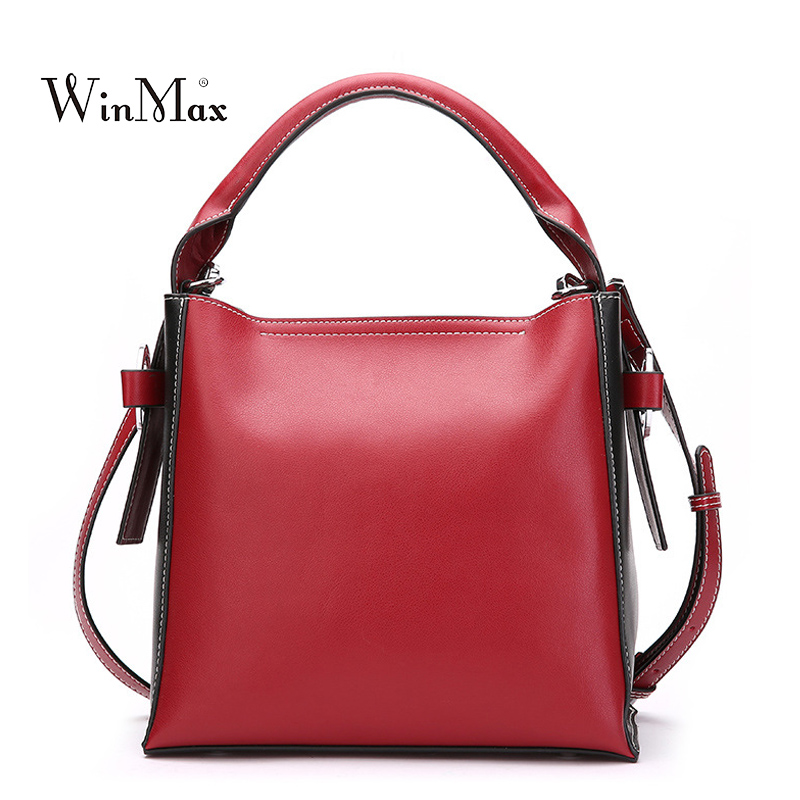 2 PCS Women Genuine Leather Handbag Shoulder Bag Women's Cow Leather Tote Bags Female Vintage Handbags Bolsa Ladies Bucket Sac new women genuine leather handbags shoulder bag oil wax cow leather tote bags female vintage handbags sac a main ladies hand bag